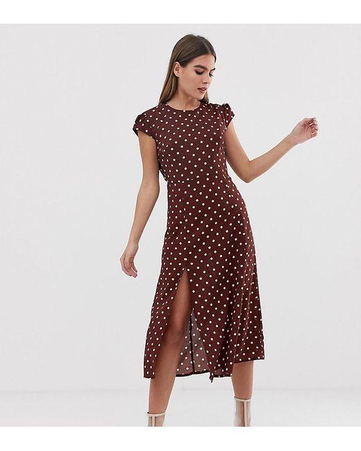 3bf2da39c10 PRETTYLITTLETHING - Red Side Split Midi Dress In Chocolate Polka Dot - Lyst  PRETTYLITTLETHING ...