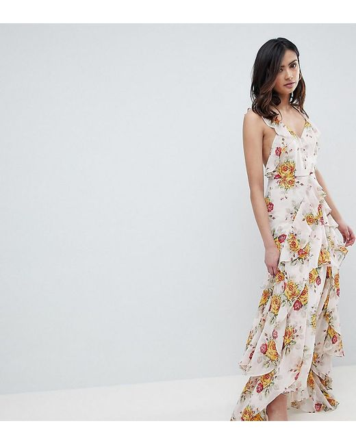a715659733 ASOS - Pink Asos Design Tall Ruffle Maxi Dress In Rose Floral Print - Lyst  ...