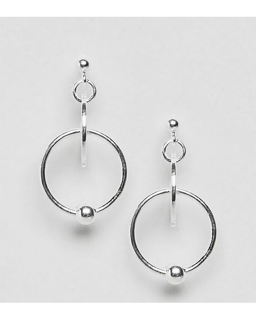 ASOS | Metallic Sterling Silver Disc And Open Circle Drop Earrings | Lyst
