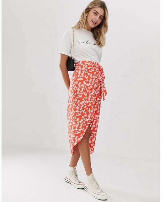2ecfb6d7d8 ASOS - Red Ditsy Floral Wrap Midi Skirt - Lyst ...