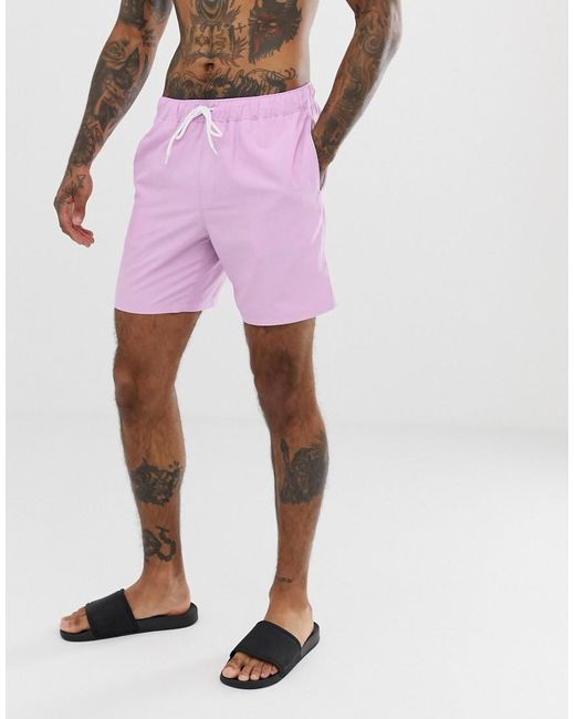 47f0a1cfd2a03 ASOS - Purple Swim Shorts In Lilac In Mid Length for Men - Lyst ...
