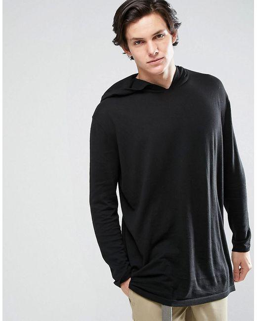 ASOS - Oversized Knitted Hoodie In Black for Men - Lyst