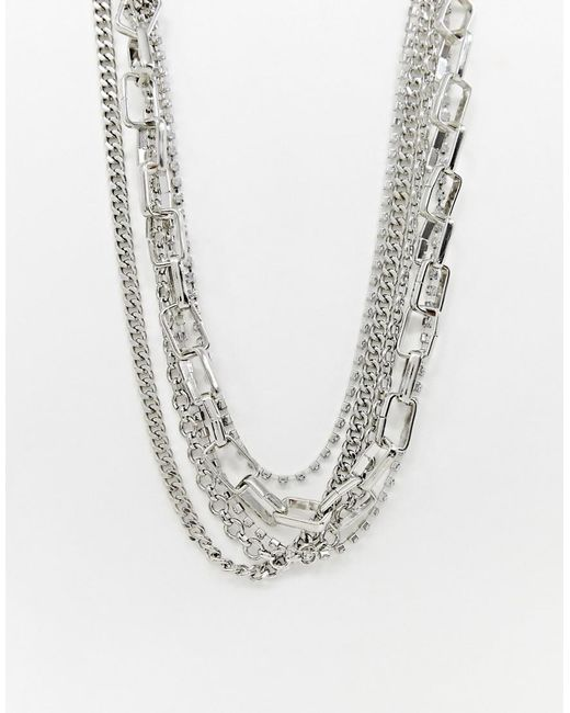ASOS - Metallic Multirow Necklace With Mixed Hardware Chains And Crystal In Silver - Lyst