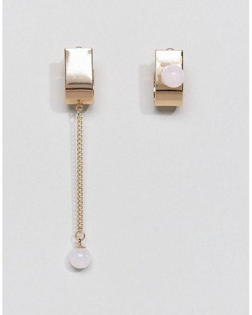 ASOS | Metallic Opal Effect Stone Half Hoop Earrings | Lyst