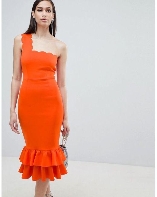ASOS - Orange One Shoulder Scallop Pephem Midi Dress - Lyst