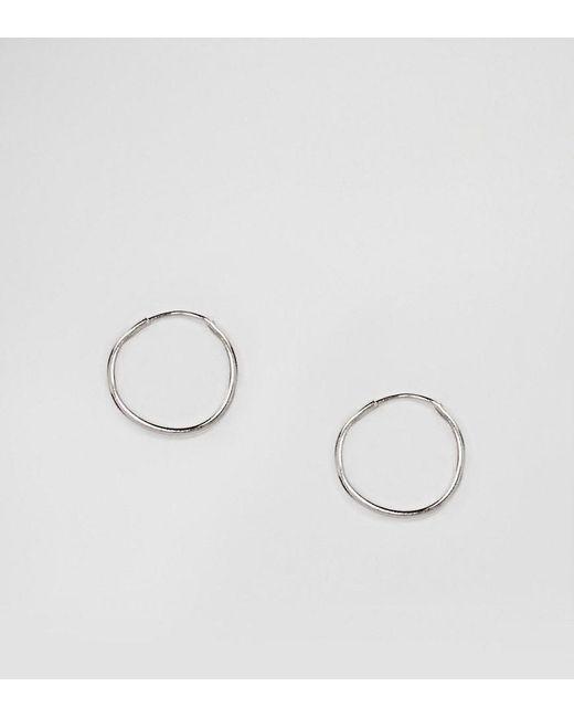 ASOS - Metallic Design Sterling Silver 9mm Hoop Earrings - Lyst