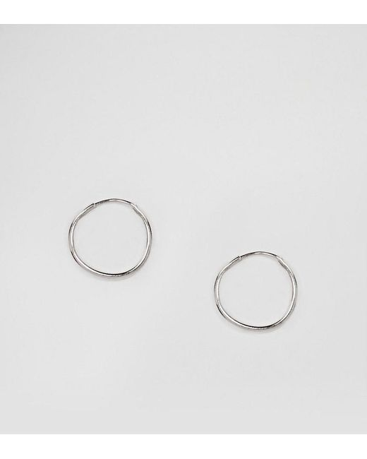 ASOS | Metallic Sterling Silver 9mm Hoop Earrings | Lyst