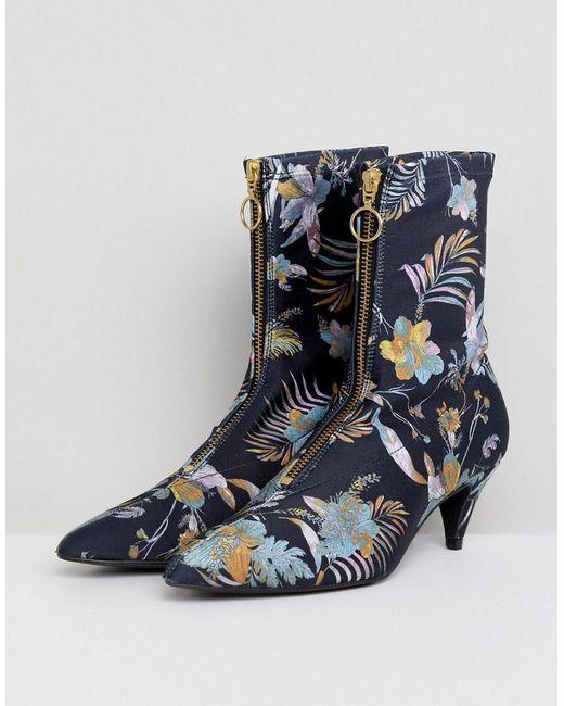Gestuz - Blue Palm Print Fabric Sock Boots - Lyst