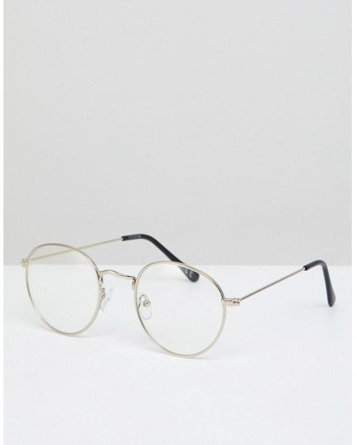 337b4729f8441 ASOS - Metallic Round Glasses In Silver Metal With Clear Lens for Men - Lyst  ...