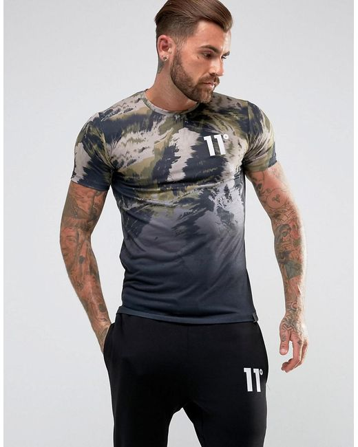 11 Degrees | T-shirt In Black Faded Camo for Men | Lyst