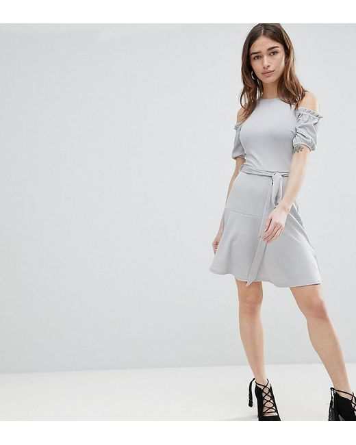 Lost Ink - Blue Fit And Flare Dress In Texture With Tie Waist - Lyst
