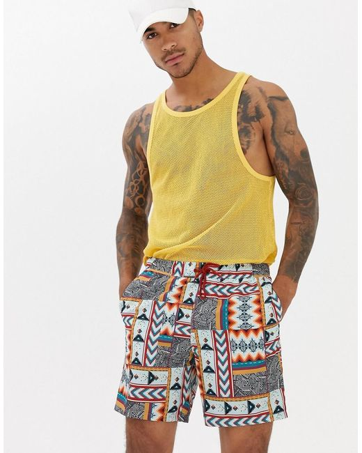 7d72b83a2fc6d ASOS - White Swim Shorts With Patchwork Aztec Print In Mid Length for Men -  Lyst ...