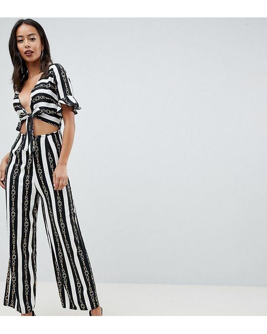 c67d7a0347 ASOS - Multicolor Asos Design Tall Tea Jumpsuit With Cut Out And Tie Detail  In Chain ...