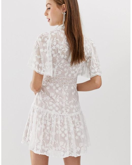 08c58647670 ... Forever New - Lace Mini Spliced Dress With Fluted Sleeve In Pink And  White - Lyst