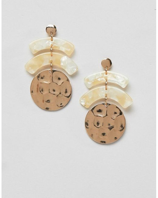 Pieces - Metallic Statement Circle Earrings - Lyst