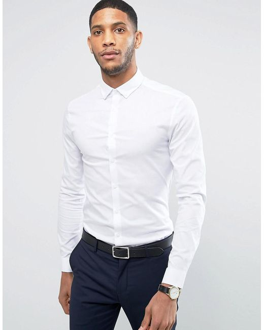 Asos Super Skinny Shirt In White With Button Down Collar in White ...