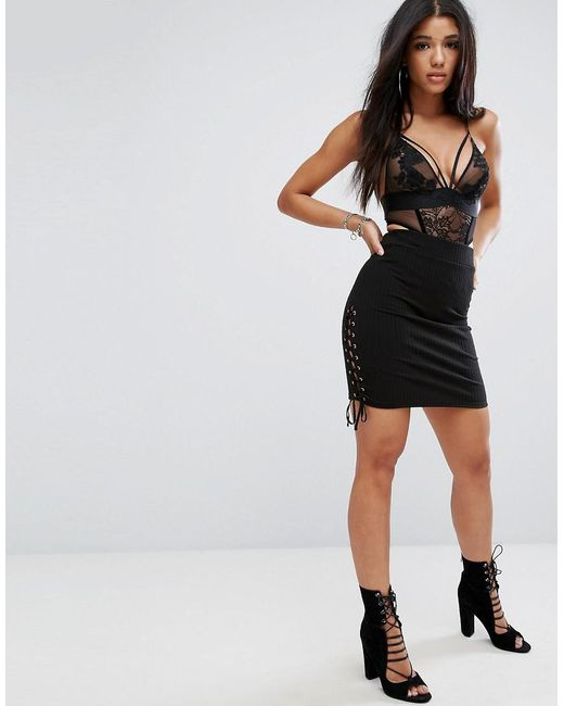 Glamorous | Black Ribbed Bodycon Pencil Skirt With Lace Up Sides | Lyst