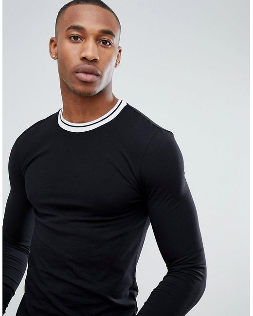 ASOS - Multicolor Muscle Fit Long Sleeve T-shirt With Contrast Tipping for Men - Lyst