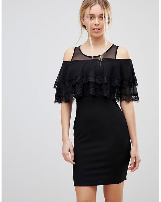 Girls On Film - Black Cold Shoulder Midi Dress With Tipped Frill - Lyst
