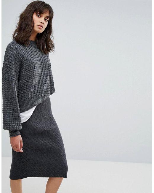 Weekday - Gray Waffle Knit Sweater - Lyst