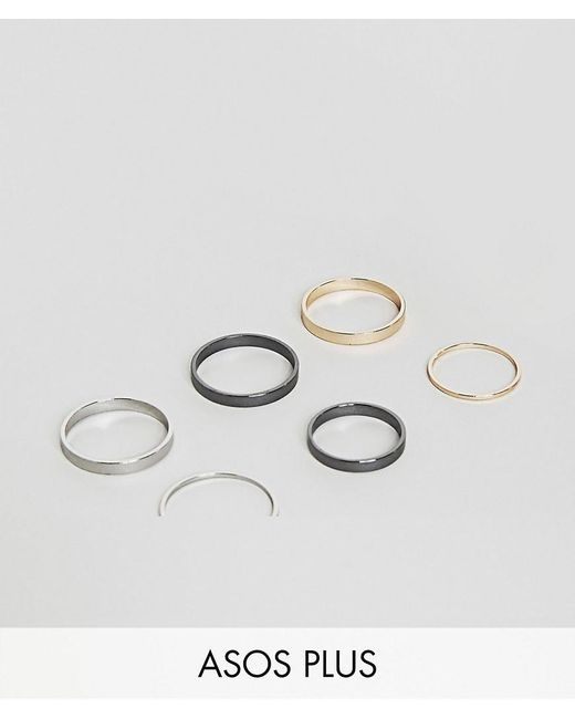 ASOS | Metallic Plus Midi Ring Pack In Mixed Finish | Lyst