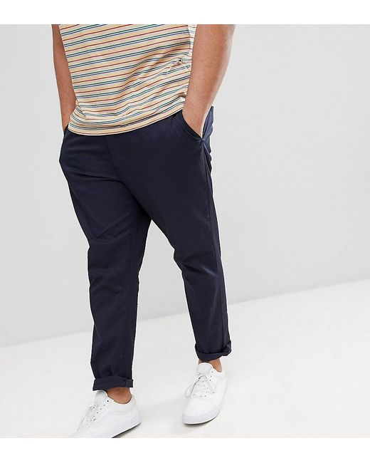 846017238d3638 ASOS - Blue Plus Tapered Chinos In Navy for Men - Lyst ...