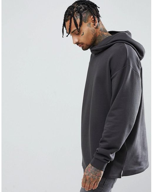 ASOS DESIGN - Oversized Hoodie With Slouch Neck In Washed Black for Men - Lyst