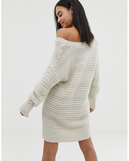 4bfe50ccd00 ... ASOS - Gray Stitch Detail Knitted Mini Dress With Off Shoulder - Lyst
