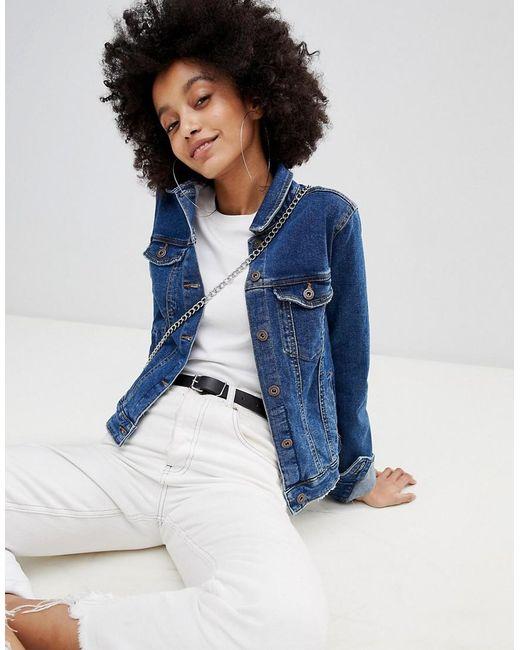 Bershka - Blue Minimal Denim Jacket - Lyst