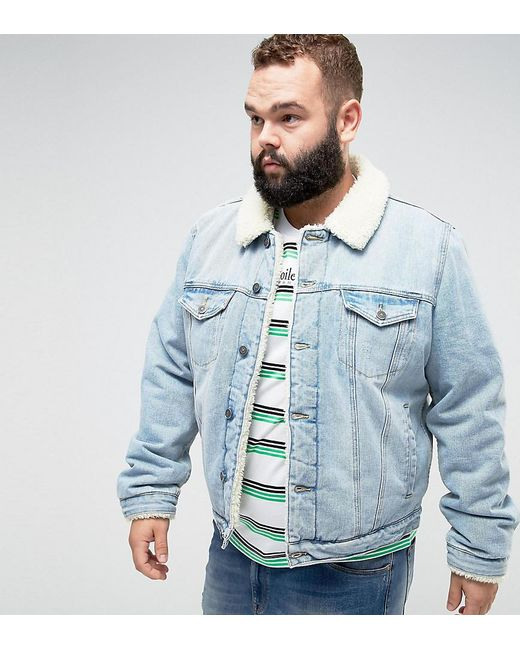 ASOS Blue Asos Plus Fully Fleece Lined Denim Jacket In Mid Wash for men