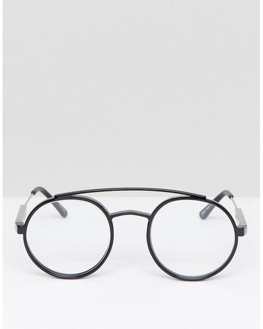 6425940331 Spitfire Round Glasses In Black With Clear Lens in Black for Men - Lyst