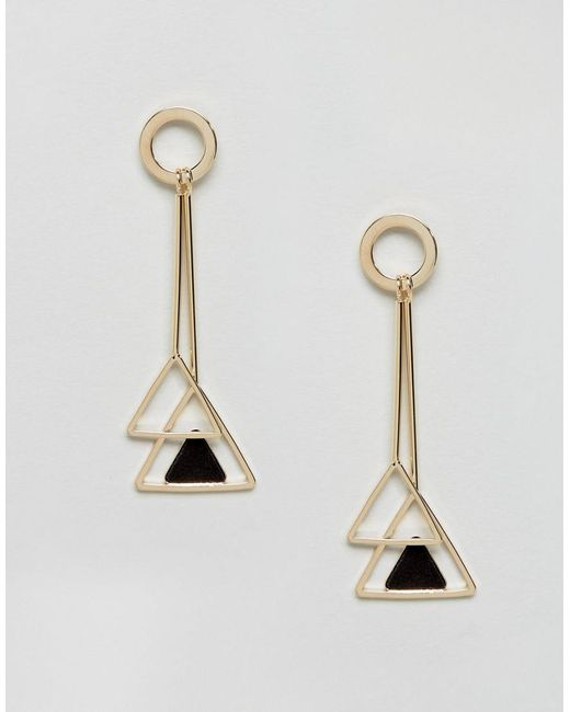 Ashiana | Metallic Double Geo Drop Earrings | Lyst