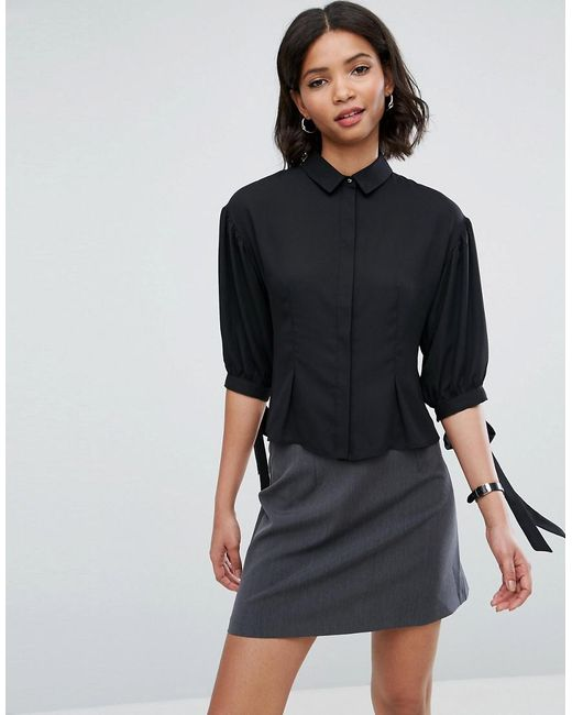 ASOS | Black Waisted Puff Sleeve Shirt | Lyst