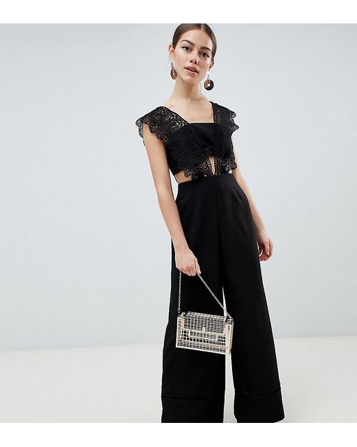 55ffdd2effa ASOS - Black Asos Design Petite Lace Top Jumpsuit With Wide Leg - Lyst ...