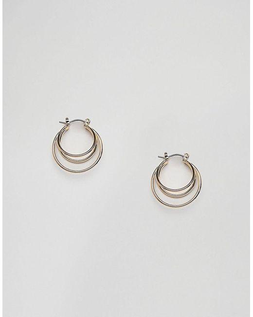 Nylon - Metallic Gold Double Hoop Earrings - Lyst