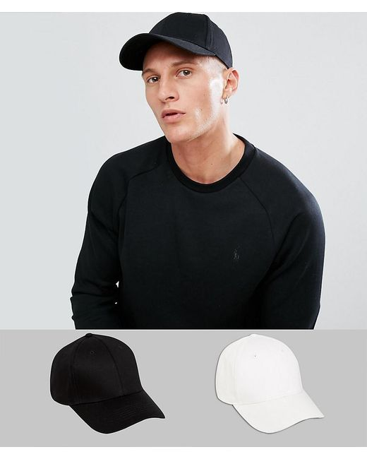 Asos 2 Pack Baseball Cap In Black And White Save in Black for Men - Lyst db50d45bfd99