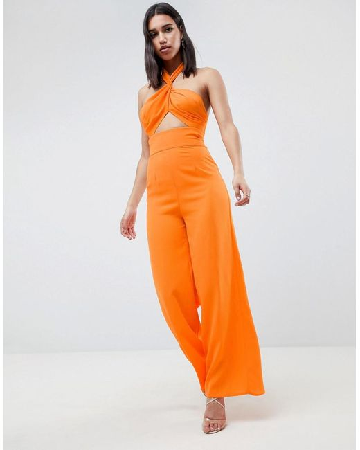 cb1e08cf1e5 ASOS - Orange Cross Front Jumpsuit With Twist Neck And Wide Leg - Lyst ...