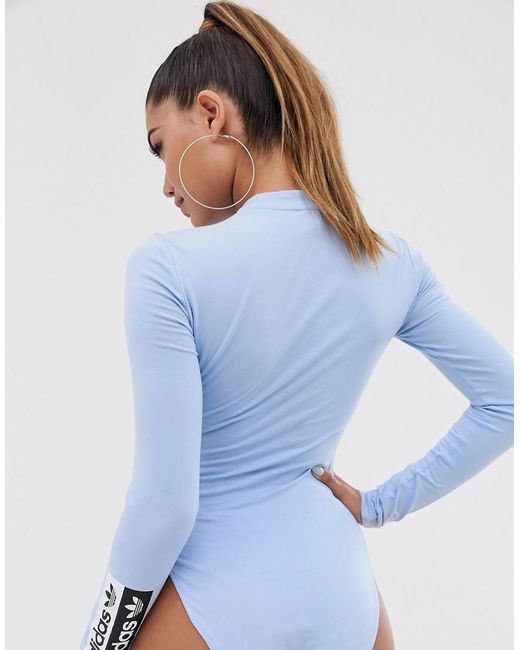 b0a37aa7e5328 adidas Originals Ryv Bodysuit In Periwinkle Blue in Blue - Lyst