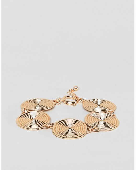 ASOS - Metallic Statement Swirl Coin Bracelet - Lyst
