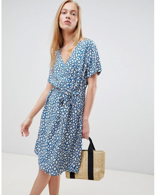 B.Young - Blue Printed Wrap Dress - Lyst