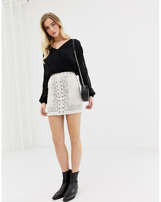 Glamorous - Black Pattern Mini Skirt - Lyst