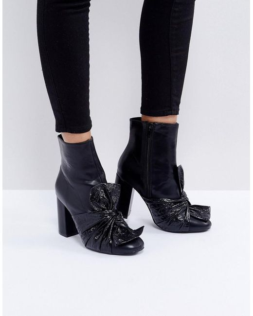33864d2757b5 Lost Ink Black Bow Heeled Ankle Boots in Black - Lyst