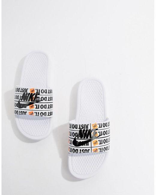 newest c205c 57ee4 ... Nike - Jdi Benassi Print Slider In White 631261-102 for Men - Lyst
