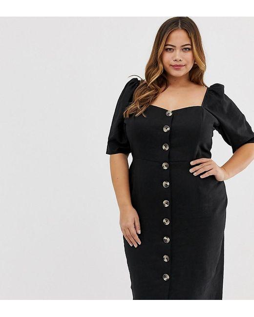 79a0ebc9e83d ASOS - Black Asos Design Curve Linen Button Through Midi Dress With  Sweetheart Neckline - Lyst ...