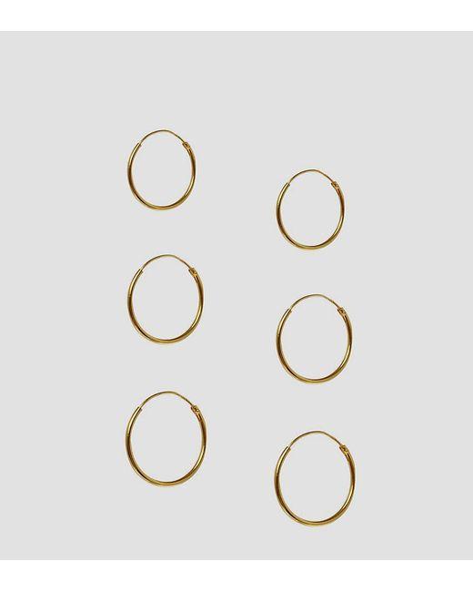 ASOS - Metallic Design Pack Of 3 Gold Plated Sterling Silver Hoop Earrings - Lyst