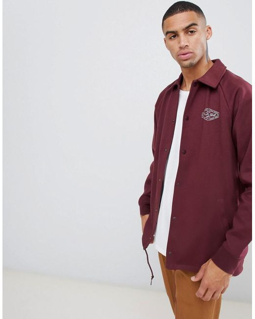 Vans Torrey Fleece Coach Jacket In Burgundy In Blue For Men Lyst