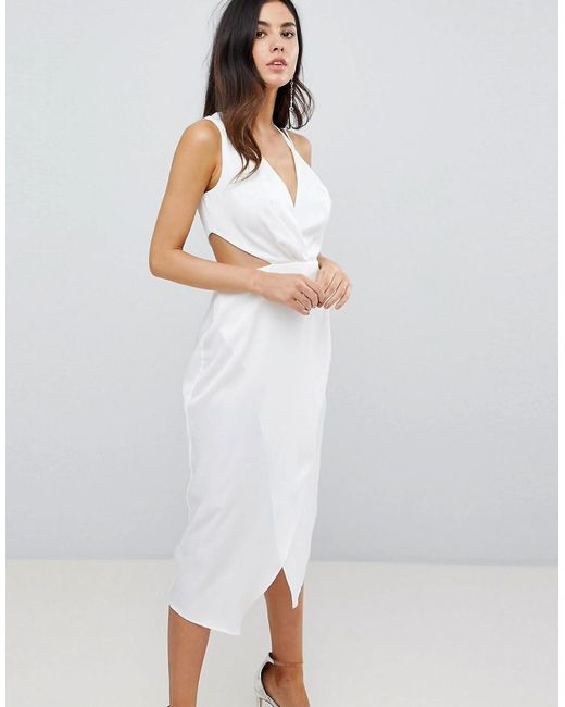 1f86bef8d81f ASOS - White Cami Satin Midi Dress With Sexy Side Cut Out - Lyst ...