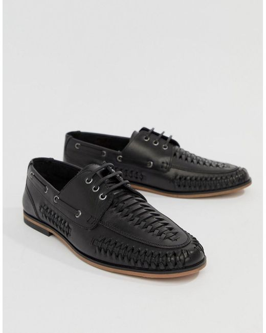 DESIGN Lace Up Woven Shoes In Black Leather - Black Asos 9OJ0Vzo