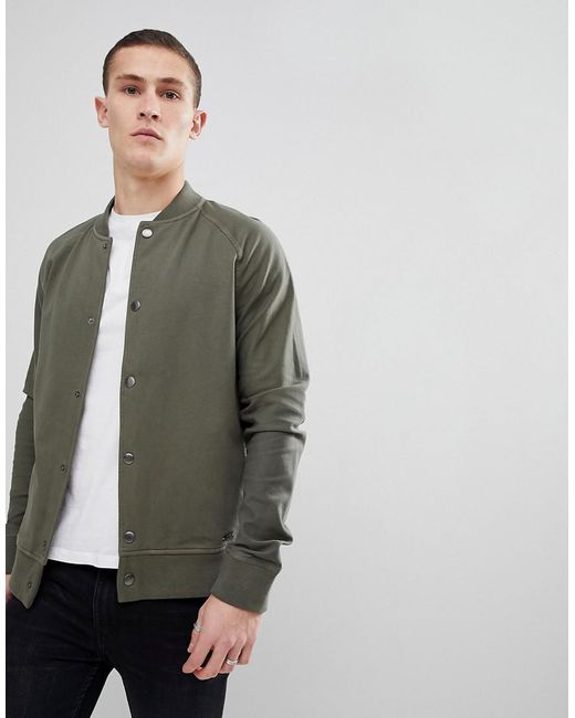BOSS - Green Boss Sweat Bomber Jacket In Khaki for Men - Lyst