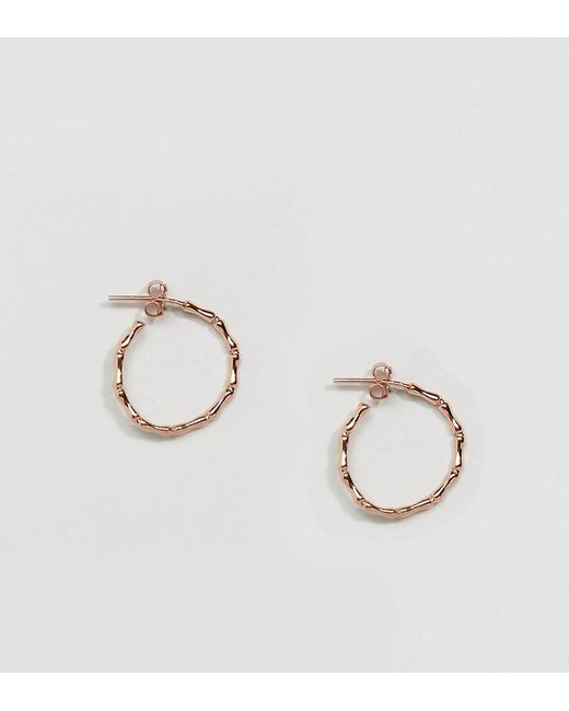 Kingsley Ryan | Metallic Rose Gold Plated Bamboo Hoop Earrings | Lyst
